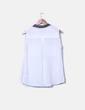 Blusa blanca fluida solapa strass Zara