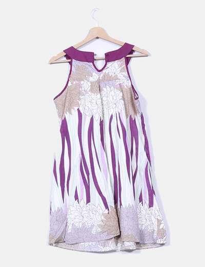 Vestido estampado con pedreria