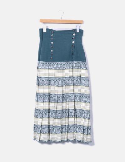 Falda larga de punto con bodble botonadura Pilar de fena