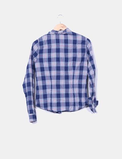 Camisa vintage cuadros azul marino