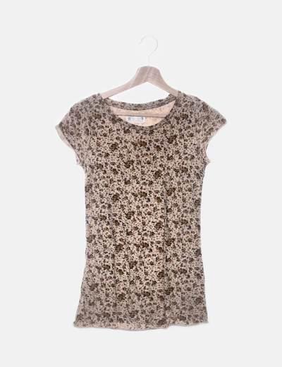 Camiseta beige floral