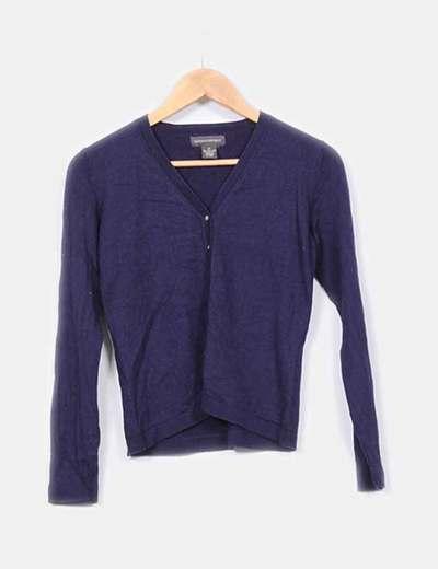 Chaqueta tricot azul marino