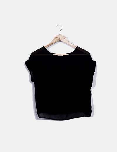 Camiseta de gasa negra semitransparente