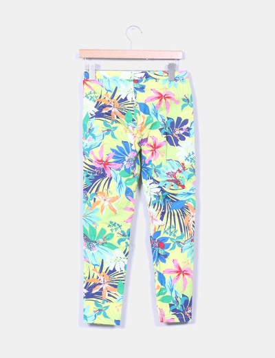 Pantalon estampado tropical