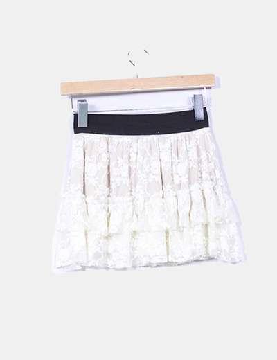 Mini falda volantes de tul beige