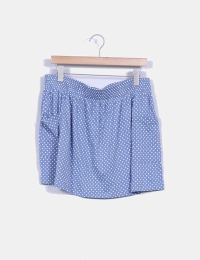 Mini falda azul con topos New Look