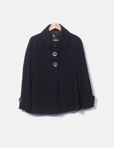 Abrigo negro botones Mania italy