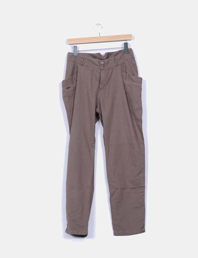 Pantalon ancho color topo