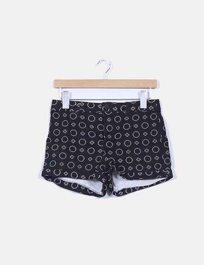 Shorts denim negro estampado H&M