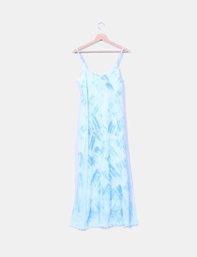 Maxi vestido azul de tirantes