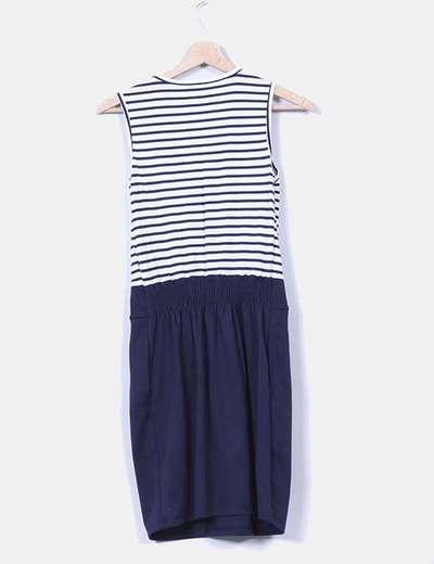 Vestido a rayas azul marino