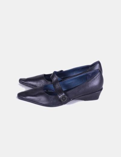 Zapatos negro cuña Zendra