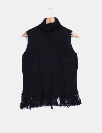 Jersey negro con flecos Jacqueline de Yong