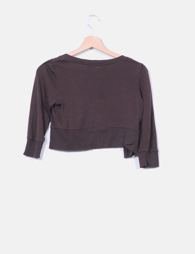 Chaqueta mini tricot marron chocolate