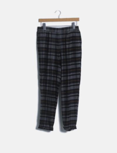 Pantalón baggy gris de cuadros