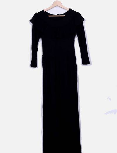 Maxi vestido negro con volante