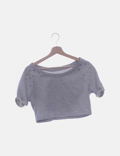 Camiseta crop griss