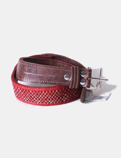 Cinturón cuero combinado burdeos Lu Magaritto