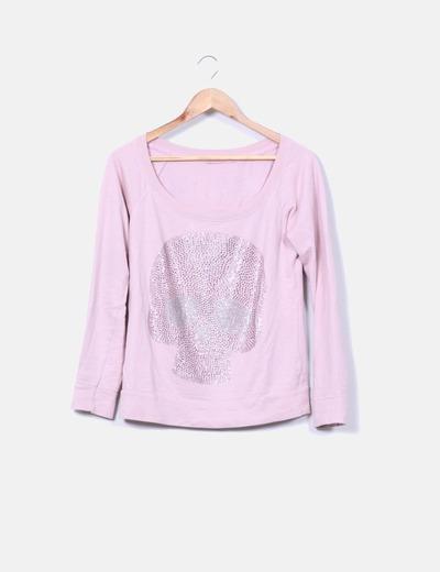 Sudadera rosa print calavera con strass Bershka