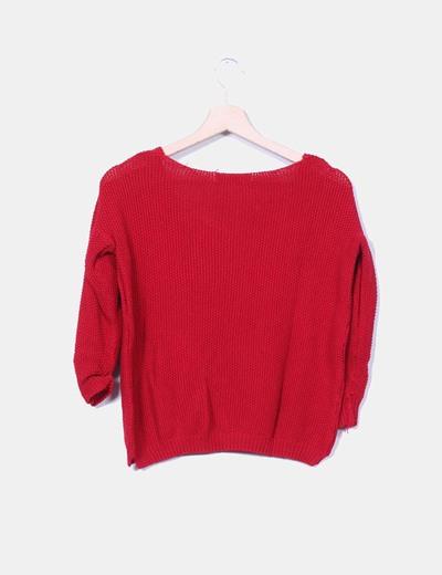 Jersey rojo troquelado manga francesa