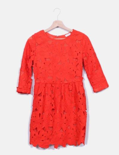 Vestido rojo crochet floral Sheinside
