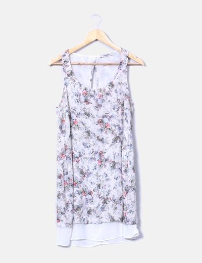 Vestido floral escote en espalda Pull&Bear