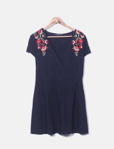Navy blue embroidered shoulders dress Zara