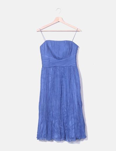 Vestido azul texturizado