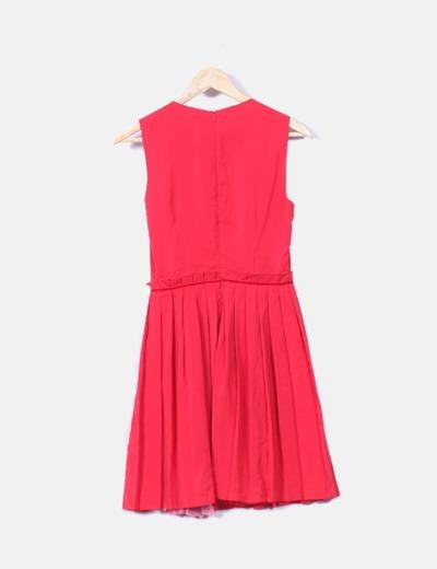 Vestido rojo y rosa con tablas