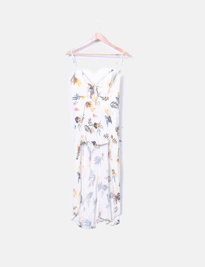 Mono asimétrico beige floral