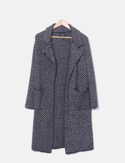 Gray knit coat black stripe Zara