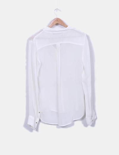 Camisa semitransparente beige detalle pedreria