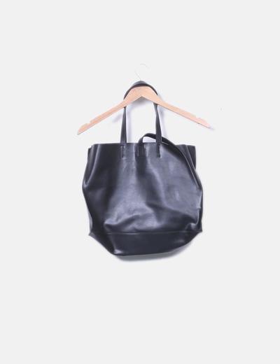 Au Printemps Paris Sac noir shopper en cuir (réduction 61%) - Micolet 224bf4e57a6