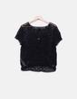 Camiseta negra crochet semitransparente Suiteblanco