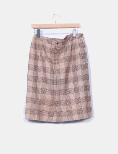 Falda midi de lana con cuadros