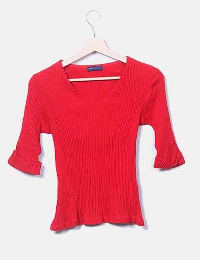 Jersey tricot rojo de canalé