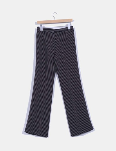 Pantalon azul rayas beige