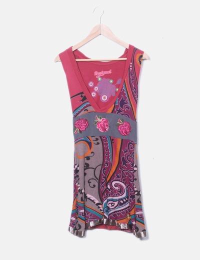 Vestido colores flores bordadas
