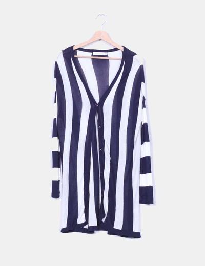 Chaqueta larga tricot rayas azul marino verticales MINKPINK