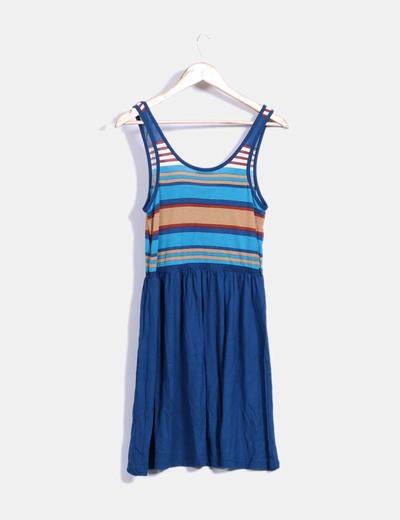 Vestido azul de rayas combinado