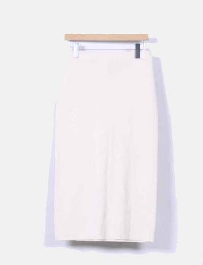 Falda midi de punto beige