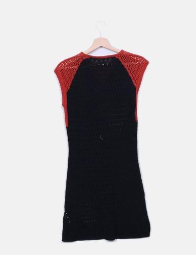 Vestido de punto bicolor