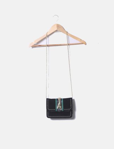 Black mini bag tiger brooch Topshop