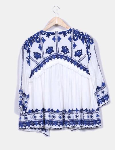 159e3e9799bf Kimono étnico blanco bordados azul eléctrico