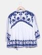 Quimono étnico branco bordado azul elétrico Zara