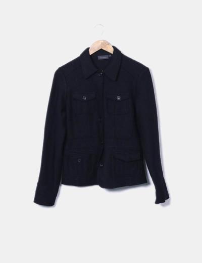 Abrigo de paño negro con bolsillos Kiabi