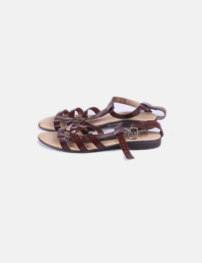 Sandalia plana marrón de tiras NoName