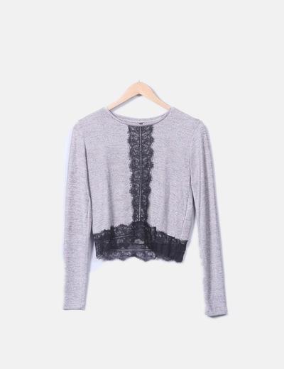 Top tricot jaspeado con encaje negro