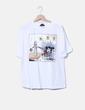 Camiseta blanca print oversize Zara