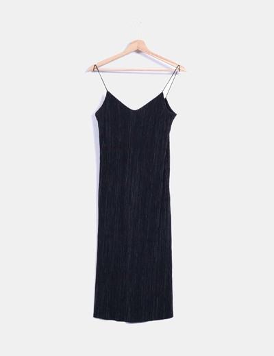 Vestido negro plisado de tirantes Pull&Bear